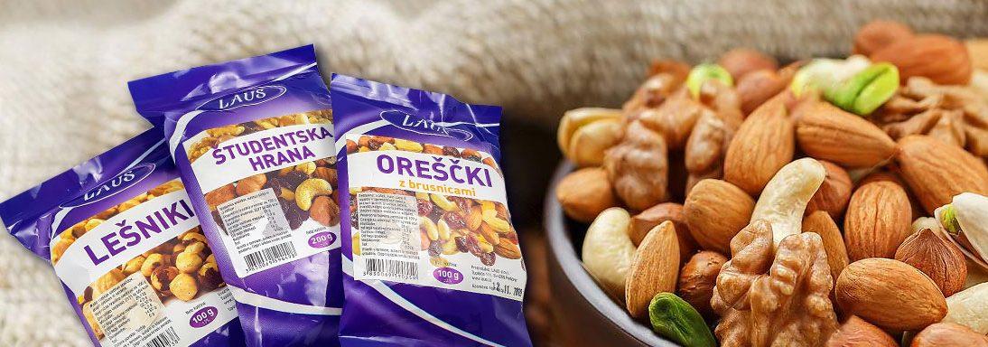 Bogata ponudba okusnih oreščkov in suhega sadja
